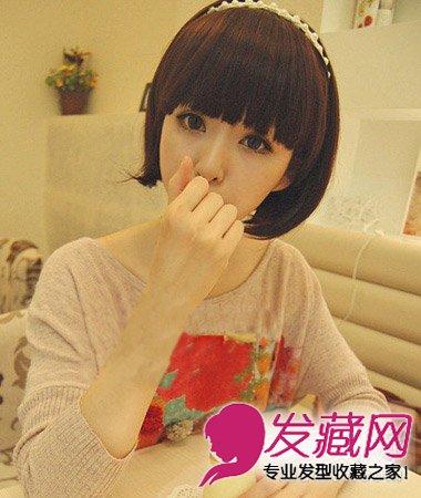 简单的梨花头发型 齐刘海短发很可爱(8)