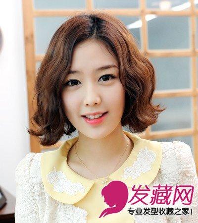 2015最新短发烫发发型 甜美韩式短卷发图片