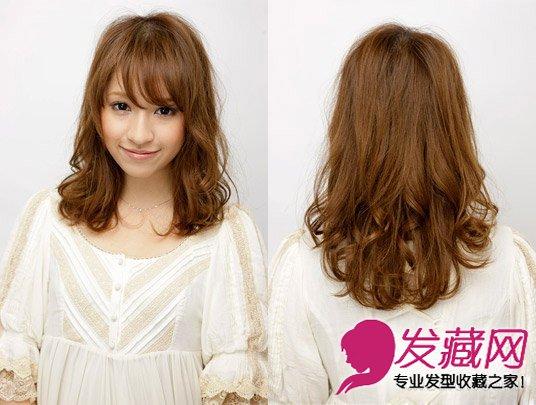 编织长卷发公主头发型 →齐刘海卷发发型图片 时尚的齐肩卷发发型