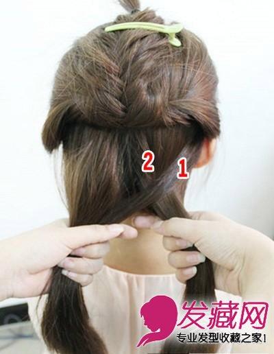 步骤二:用鱼骨辫的方法进行编发