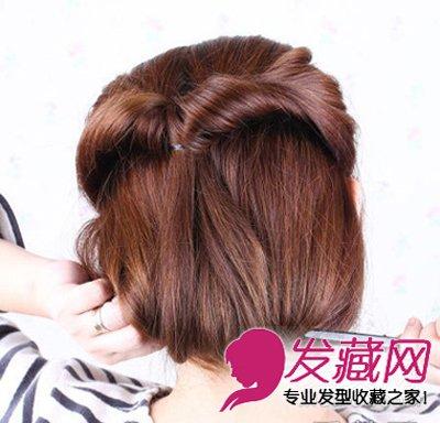 长发立变短发 韩式淑女范短发盘发教程(6)图片