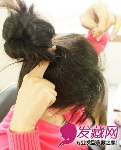 简单花苞头盘发图解 扎发让你与众不同(8)