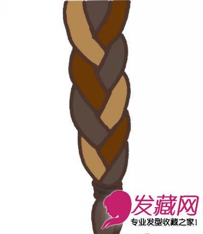 步骤6.把辫子一直编织到最后发端位置.