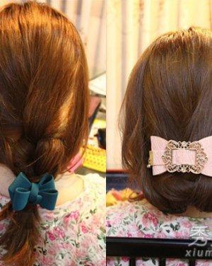 韩式盘发编发长发的扎法图片