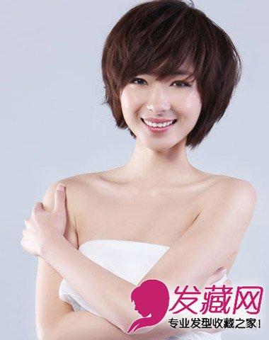女生长脸适合斜刘海清新短发 刘海打造巴掌脸(2)图片