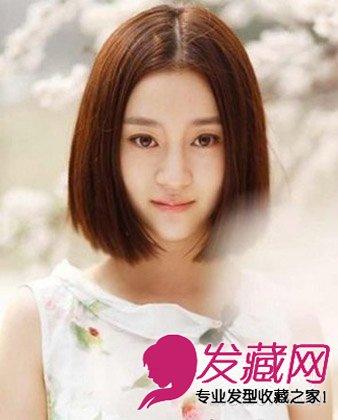 女生长脸适合斜刘海清新短发 刘海打造巴掌脸(4)图片