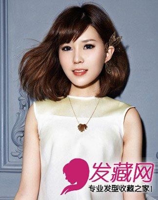女生长脸适合斜刘海清新短发 刘海打造巴掌脸(5)图片