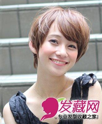 夏季清爽短发发型 厚重的斜刘海发型设计(3)