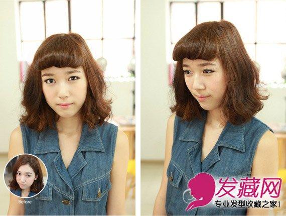 内扣刘海制作步骤一: 将头发分出图示中的