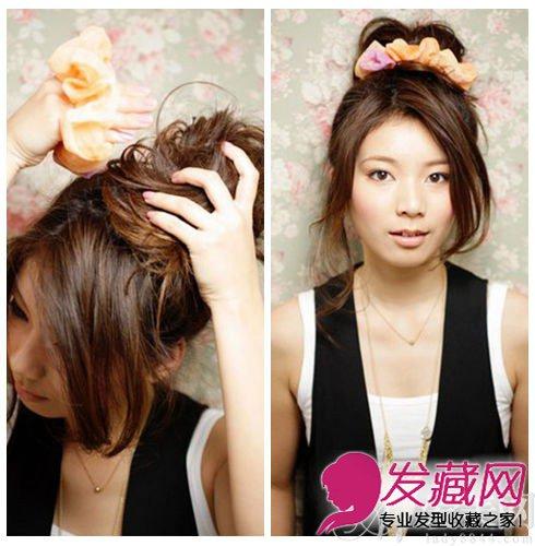 发型网 流行发型 丸子头发型 > 最简朴丸子头的扎法图解 清新一夏(3)