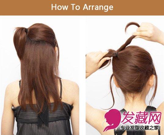 斜刘海发型扎法图解 公主头甜蜜扎发发型(7)图片