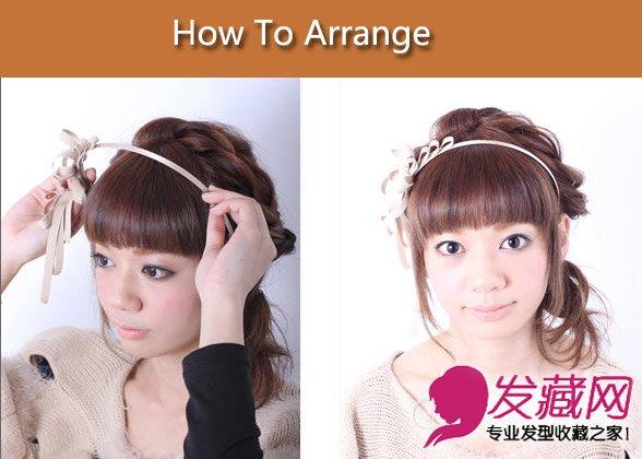 齐刘海卷发怎么扎 圆圆的齐刘海配蝴蝶结发箍(4)