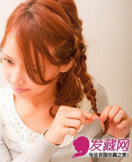 【图】中短卷发扎发发型