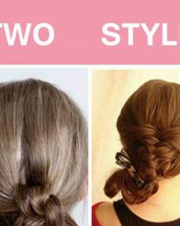 个性的双结低发髻发型 打造清新利落编发