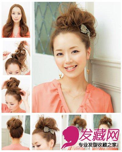 再用蝴蝶发圈把头发固定,这样,这个可爱的可爱发夹高发髻扎发      &