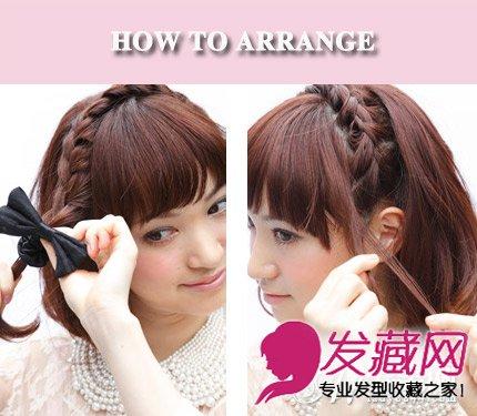 短发发型 > 短发麻花辫编发 清新短发更显别致(3)  导读:step3:编织至