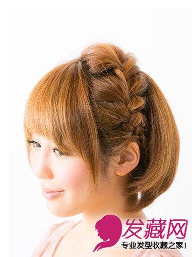 短直发小双辫扎发发型                         短发都能扎麻花辫的