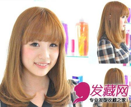 齐刘海发型中发修出可爱小脸(2)