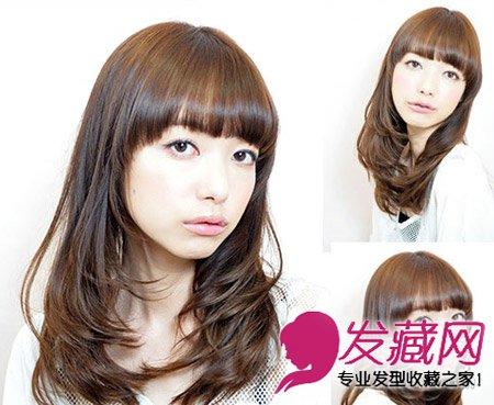 齐刘海发型中发修出可爱小脸(3)