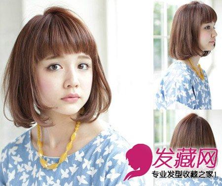 齐刘海发型中发修出可爱小脸(9)