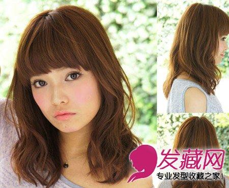 齐刘海发型中发修出可爱小脸(10)