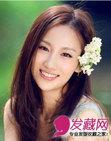 苹果脸蛋的圆脸女生发型 中长卷发最修颜(2)图片
