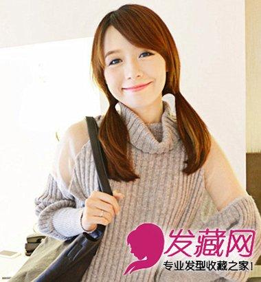 圆脸高额头适合的齐刘海长直发发型(4)图片
