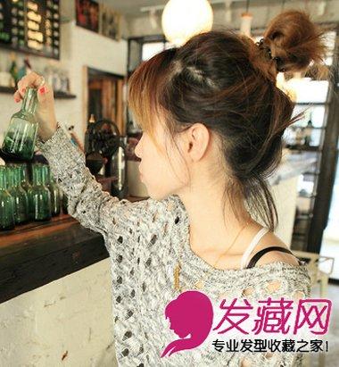 圆脸适合发型 > 圆脸高额头适合的齐刘海长直发发型(6)  导读:丸子头