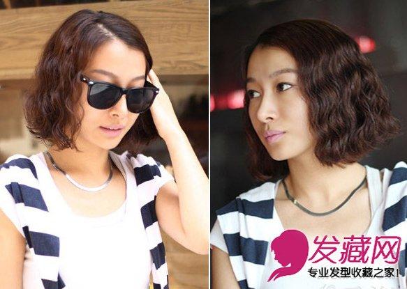 咖啡色短发蛋卷头   发型亮点:质感发卷   编辑点评:侧分长刘海如今很是流行哦。细卷发很是浓密,质感丰满,对于发量偏少的MM是个不错的短发选择。