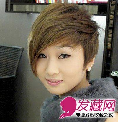 长刘海沿着脸部服帖而下,露出半边脸的设 →剪明星同款短发会怎么样?图片