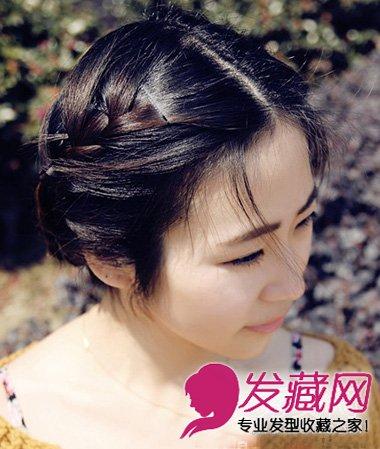 发型,由侧边编发到脑后盘成发髻,古典的清爽图片