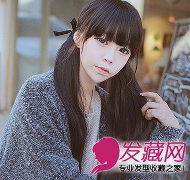 韩式双马尾发型显脸小 韩式齐刘海扎发最瘦脸