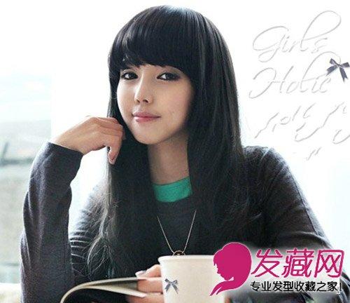 初秋女生齐刘海发型 自然大方齐刘海发型