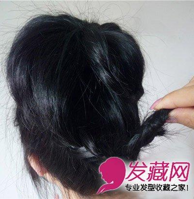 【图】圆脸长发扎发教程 韩式花苞头发型图片(6)_花苞