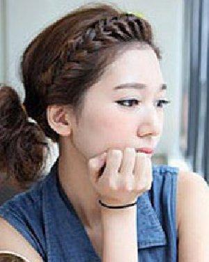 韩式编发加马尾发型 甜美的刘海编发型