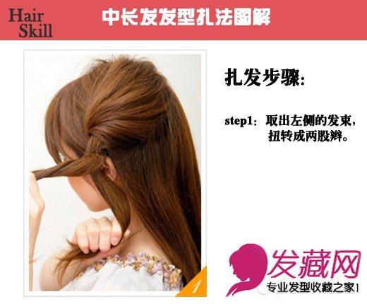 导读:中长发发型扎法图解: step1:取出左侧的头发,分成均等两部分