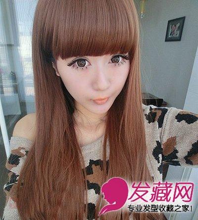 这款厚重的齐刘海长卷发,散发着甜美的气息.深棕色的图片