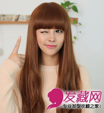 发型 > 圆脸适合卷发发型 厚重的齐刘海长卷发  导读:对长发的女生来图片