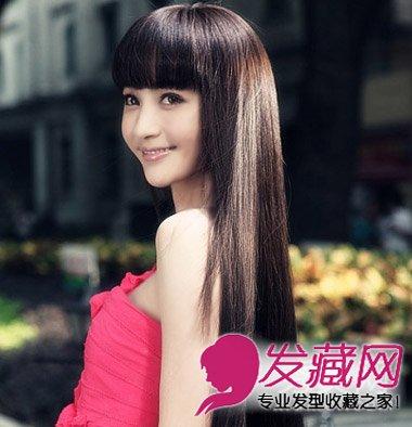 日系齐刘海长直发发型 清甜脱俗的气质感(6)图片
