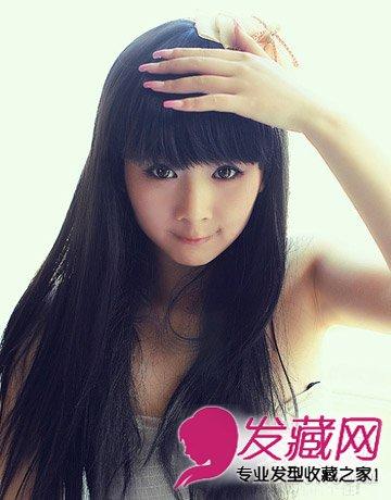 时尚发型 > 可爱的学生发型 冬季女生中分长直发发型(2)  导读:齐刘海图片