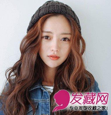 自然的斜刘海卷发乖巧中带着甜美 韩式长卷发时尚超瘦脸(3)图片