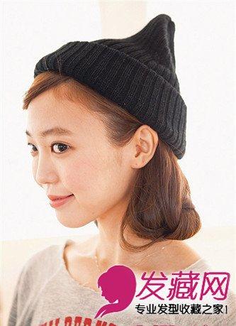 冬日随意感编发教程 长发配帽子最可爱(2)