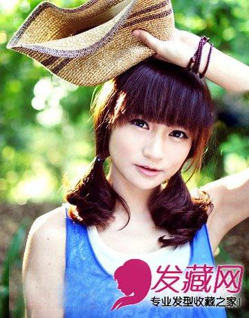 中长发怎么扎 娇俏的女生丸子头发型(2)