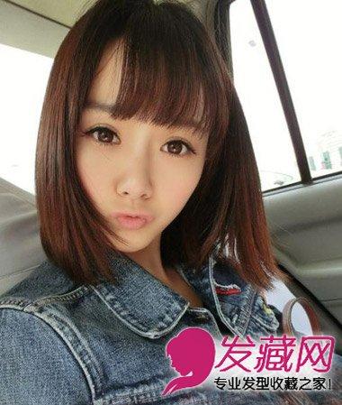 这款韩式齐刘海短发发型发尾修剪得非常整齐,给人干净利落的感觉图片