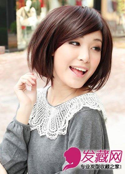 搞定胖圆脸(7)  导读:这款时尚日韩风的短发发型,很适合胖脸的女生.