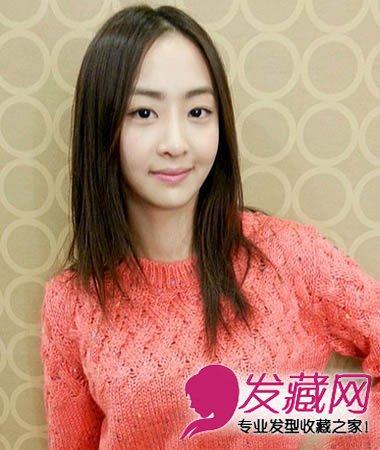 圆脸适合长发发型图片 御姐范儿中分长直发发型(7)