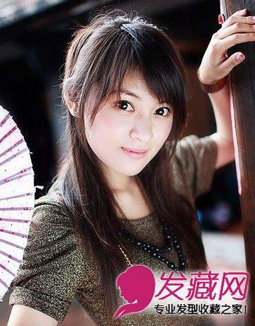 方脸适合发型图片 侧分的中长发发型(9)