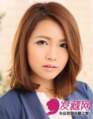 什么发型好看 时尚甜美的圆脸女生发型 →甜美内扣刘海十分甜美 可爱