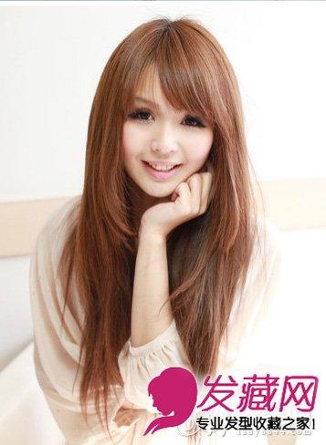 大脸女生适合的发型 齐刘海直发发型(3)