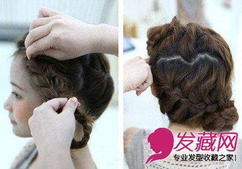 怎么扎头发简单好看 刘海编织花苞形状发型(4)